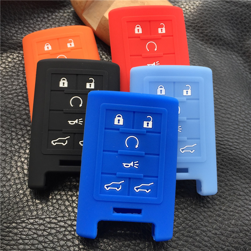 silicone rubber key cover case shell for Cadillac CTS ATS 28T CTS-V coupe SRX Escalade keys 6 buttons key case