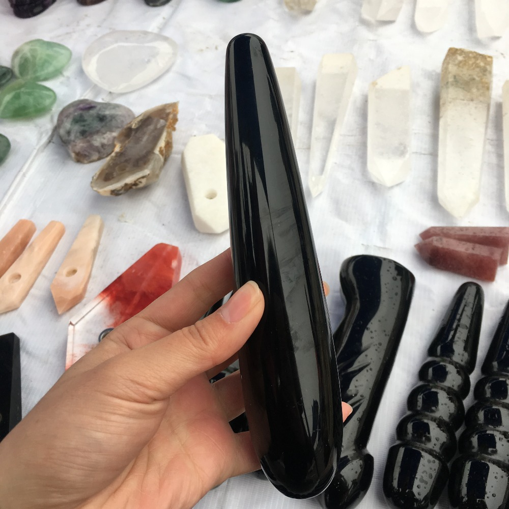 Natural black obsidian crystal wand hand carved massage stick healing crystal gemstone yoni wand