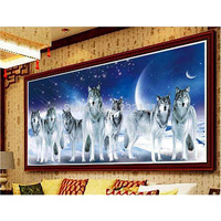 Animals DIY Round Diamond Painting 5D Cross Stitch Kits Wolf In The World Animals Diamonds Embroidery