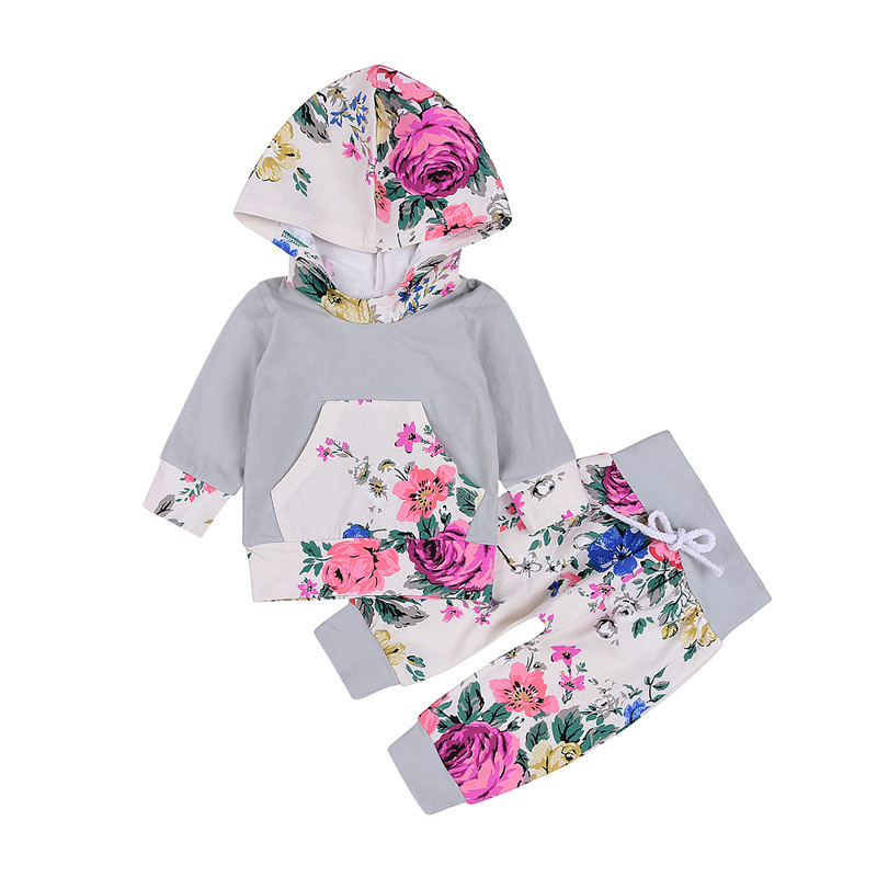 New Style Newborn Baby Girls Clothes Floral Hooded Long Sleeve Tops Pants 2Pcs Outfits Baby Clothing Set