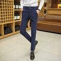 Новый 2017 мужская мода бутик чистый цвет стрейч тонкий досуг брюки/Мужской Хлопок черный синий случайные брюки/Мужчины брюки