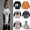 2017 ropa de los cabritos niños enmascarados camisetas nununu nununu niños ropa ropa de los muchachos niños de algodón de manga larga niños camisetas