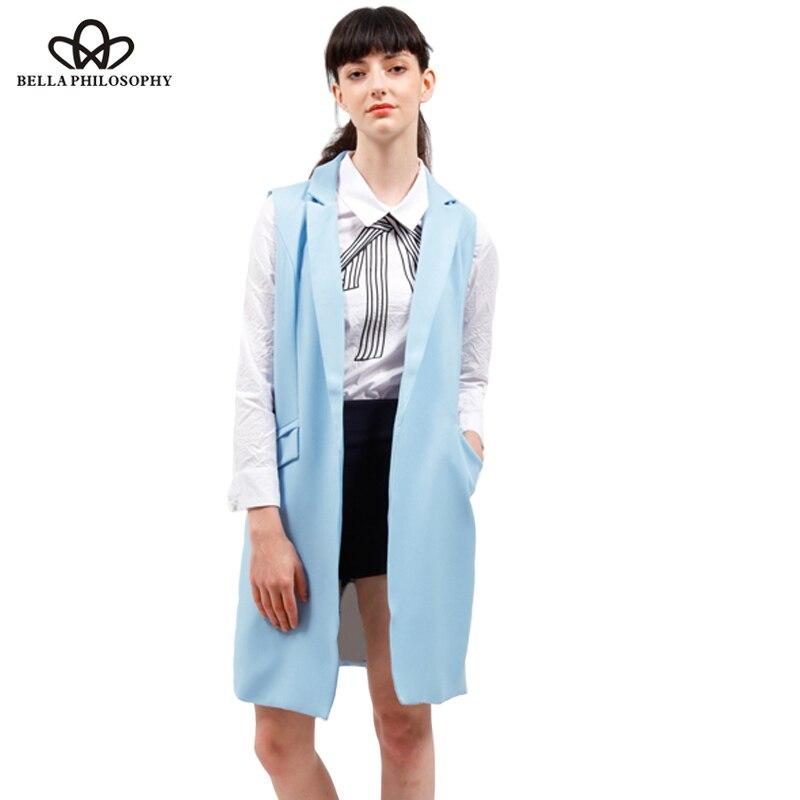 women vest spring jacket brand WaistCoat pockets open stitch sleeveless blue pink beige blazer colete feminino