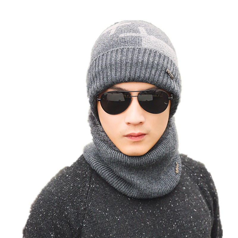 jiangxihuitian 2018 New Balaclava Winter Men's Skullies Wool Knitted Balaclava Cap Ninja Mask Thermal Plush Pocket Hat Snow Cap knitted skullies cap the new winter all match thickened wool hat knitted cap children cap mz081
