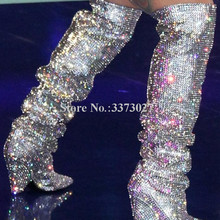 Glitter Spike Heels Kristall Kniehohe Stiefel Frau Bling Bling Strass Lange Stiefel Sexy Spitz Shinning Ritter Stiefel