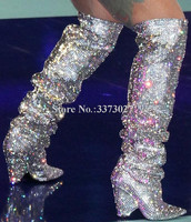 Glitter Spike Heels Crystal Knee High Boots Woman Bling Bling Rhinestone Long Boots Sexy Pointed Toe Shinning Knight Boots