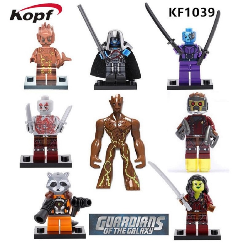 Building Blocks Guardians of the Galaxy Super Heroes Gamora Star-Lord Drax Ronan Rocket Groot Baby Children Gift Toys KF1039 часы nixon lodown ii never dry