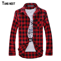 MENS VINTAGE PLAID CHECK LONG SLEEVE SHIRT Slim Fit Shirts For Men High Quality T SHIRT