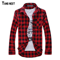 TANGNEST Men Plaid Shirt Camisas 2017 New Arrival Men's Fashion Plaid Long-sleeved Shirt Male Casual High Quality Shirt MCL1555