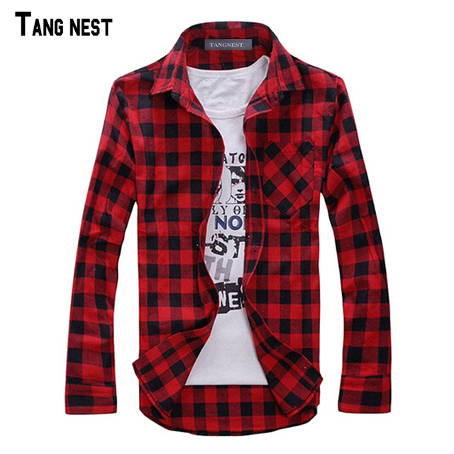 TANGNEST Men Plaid Shirt Camisas 2018 New Arrival Men's Fashion Plaid Long-sleeved Shirt Male Casual High Quality Shirt MCL1555