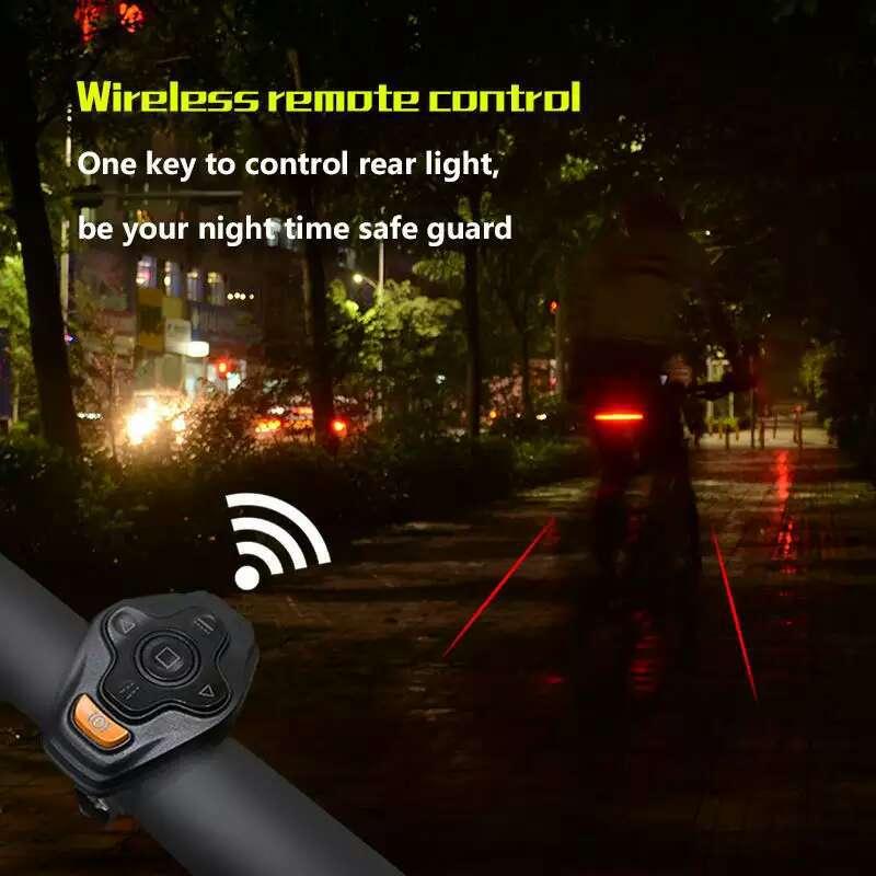 Omni Smart Bicycle Light Bike Rear Remote Wireless Light Turn Signal LED Tail Light Laser Beam USB Chargeable Cycling Bike Light verifone vx610 omni 5600
