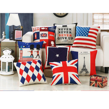 England Simple Cartoon Geometry Peugeot Cushion Cover Office Sofa Wedding 1128 Linen Pillow Cover Home Decorative Pillows Case