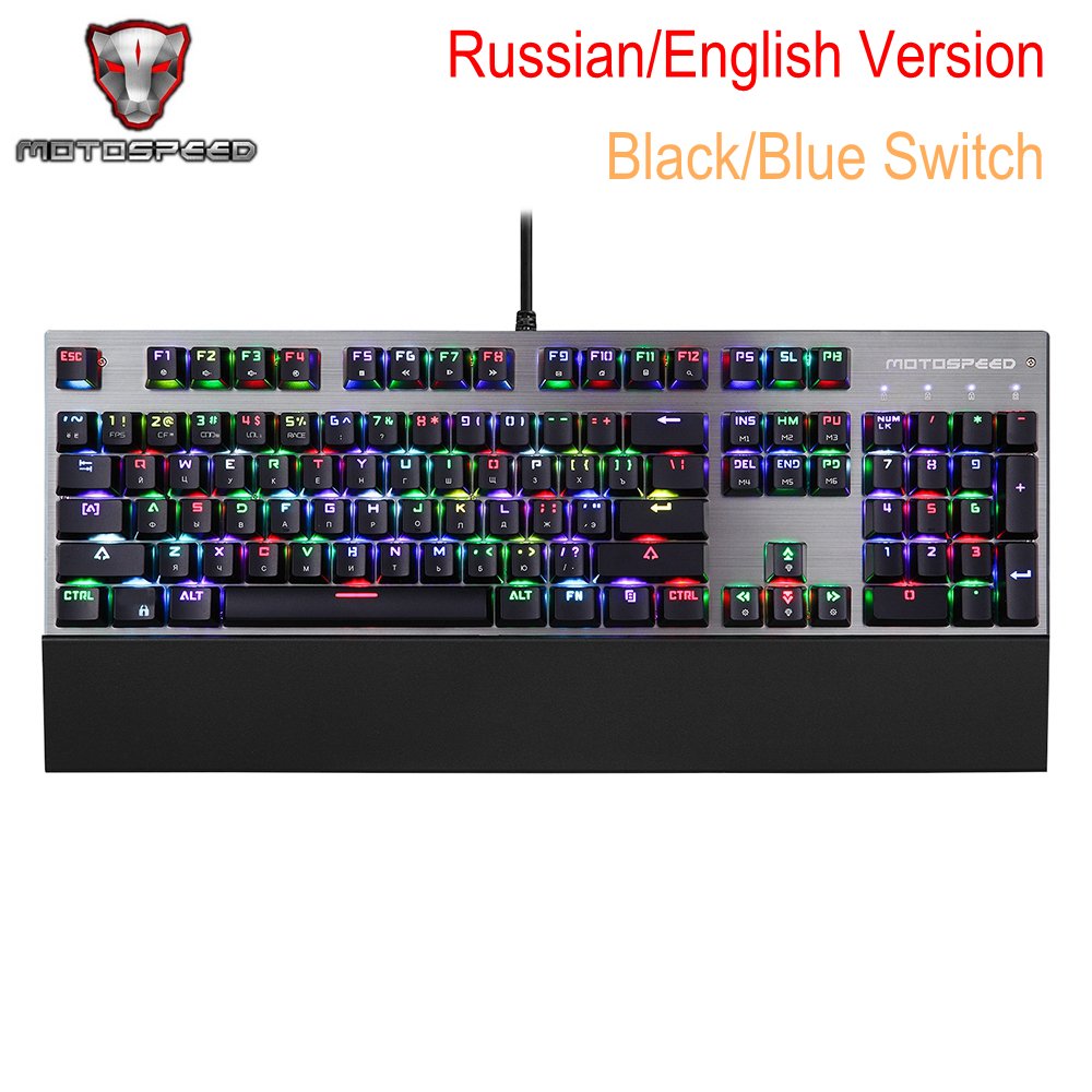 Russian English Motospeed CK108 Mechanical Keyboard USB Wired Gaming Programmable Backlight Keyboard Computer Parts Blue Switch motospeed ck108 mechanical keyboard usb wired gaming keyboard blue black switch with backlight mode for desktop laptop gamer