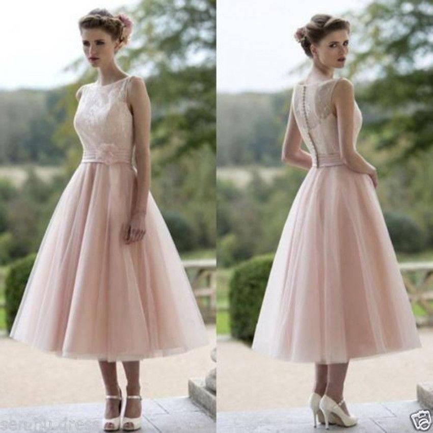 Pink Tea Length Wedding Dresses