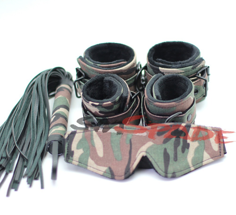4 pcs army green sex restriatns sets contains hand cuffs,ankel cuffs,sex flogger and blindfols,fun novelty for couples,sex slave sex