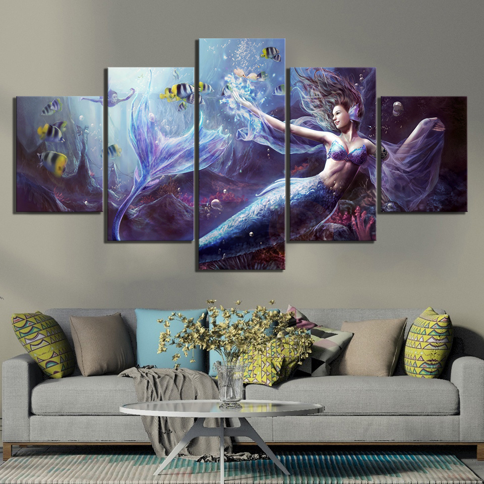 5 Piece Fantasy Art Paintings Legend of Mermaid HD Wall Picture Canvas Art for Home Decor 1