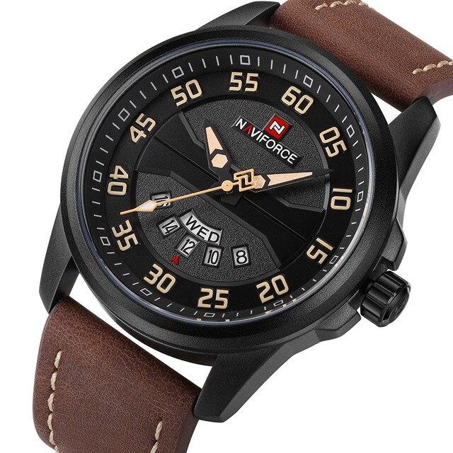 NAVIFORCE Brand Men Sports Watches Men's Quartz Date Clock Man Leather Strap Military Waterproof Wrist watch relogio masculino