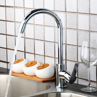 OUBONI Kitchen Flexible Faucet With 360 Degree Swivel Spout Polished Chrome Single Handle Deck Mounted Sink