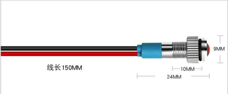 6mm 12 v mini métal LED panneau pilote tableau de bord indicateur de Signal voyant 15 cm câble Chrome finition voiture bateau Marine