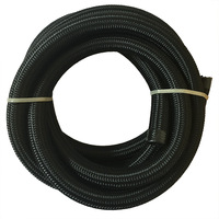 5 Meter 12 AN 12 Cotton Over Black Braided Water/Fuel / Oil Hose Pipe Tubing Light Weight Nylon+Stainless Steel Hose End