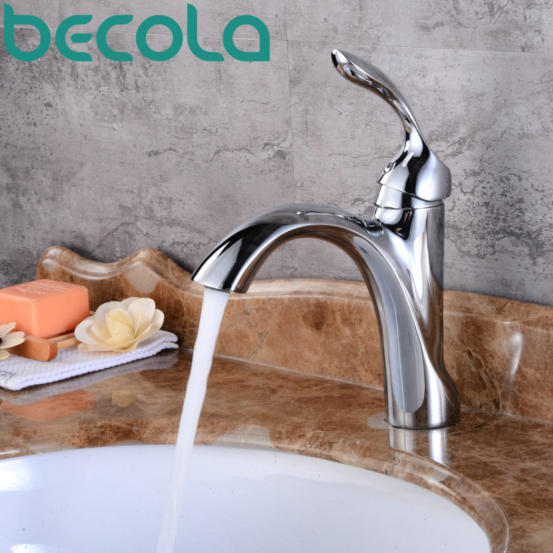 becola new design chrome brass faucet Brushed Nickel bathroom faucet fashion black basin tap B-1090 fashion design goose neck brass robinet bathroom basin tap faucet