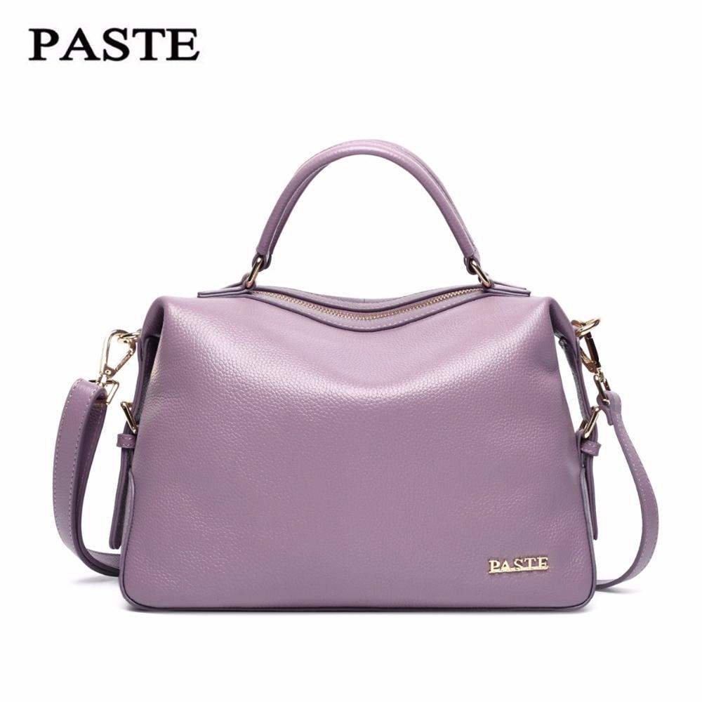 ФОТО Paste 2017 Luxury Women leather Handbags Cowskin Genuine Leather Bags Luxury Designer Bag Black/purple/gray 6P0720