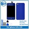 Pantalla lcd & touch digitalizador de pantalla de color azul oscuro & home button y de nuevo color de la mezcla cubierta para iphone 4/4s con herramientas