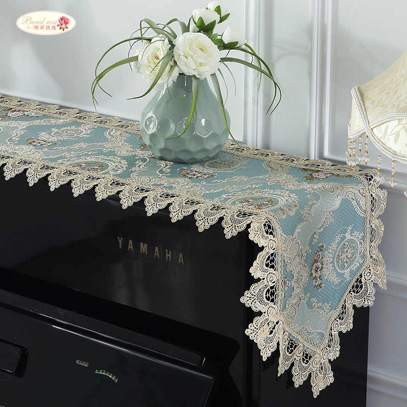 Proud Rose Lace Table Runner Piano Towel Cover Cloth Embroidery Table Cloth Piano Dust-proof Cover Wedding Decoration