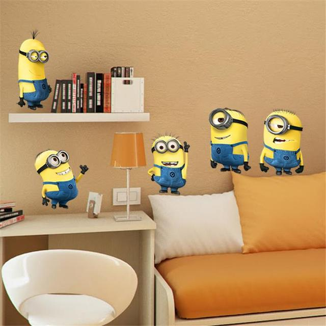 % minions movie wall stickers kids room home decorations diy pvc cartoon decals children gift 3d mural arts posters wallpaper