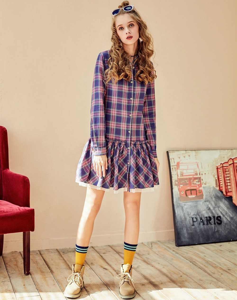 ARTKA 2018 סתיו חדש נשים מקרית כותנה הסטודנטיאלי סגנון אונליין פרע פנס שרוול משובץ שמלת LA10883C