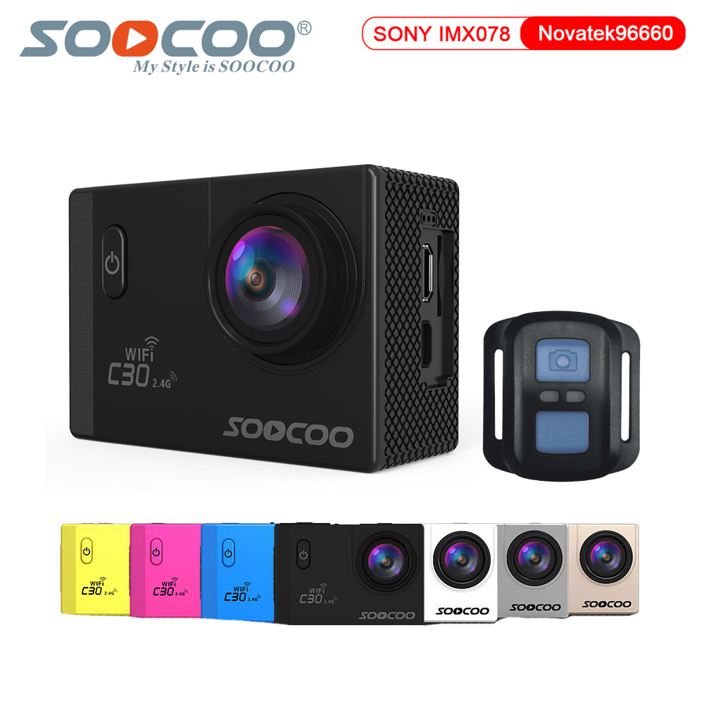 SOOCOO C30R  Action Camera Remote Control NTK96660 Wifi 4K Gyro Adjustable 70-170D lens 30m waterproof Sport camera soocoo c30 sports action camera wifi 4k gyro 2 0 lcd ntk96660 30m waterproof adjustable viewing angles