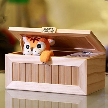 Tiger In A Box - Wooden Electronic Box Cute Tiger Funny Toy Gift for Boy and Kids interactive toys Stress-Reduction Desk Decoration