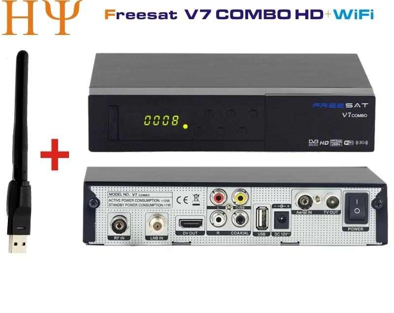 Genuine Freesat V7 Combo +1PC WiFi satellite receiver DVB S2+DVB T2 PowerVu Biss Key PowerVu Biss Key Cccam Newcam Youtube цена