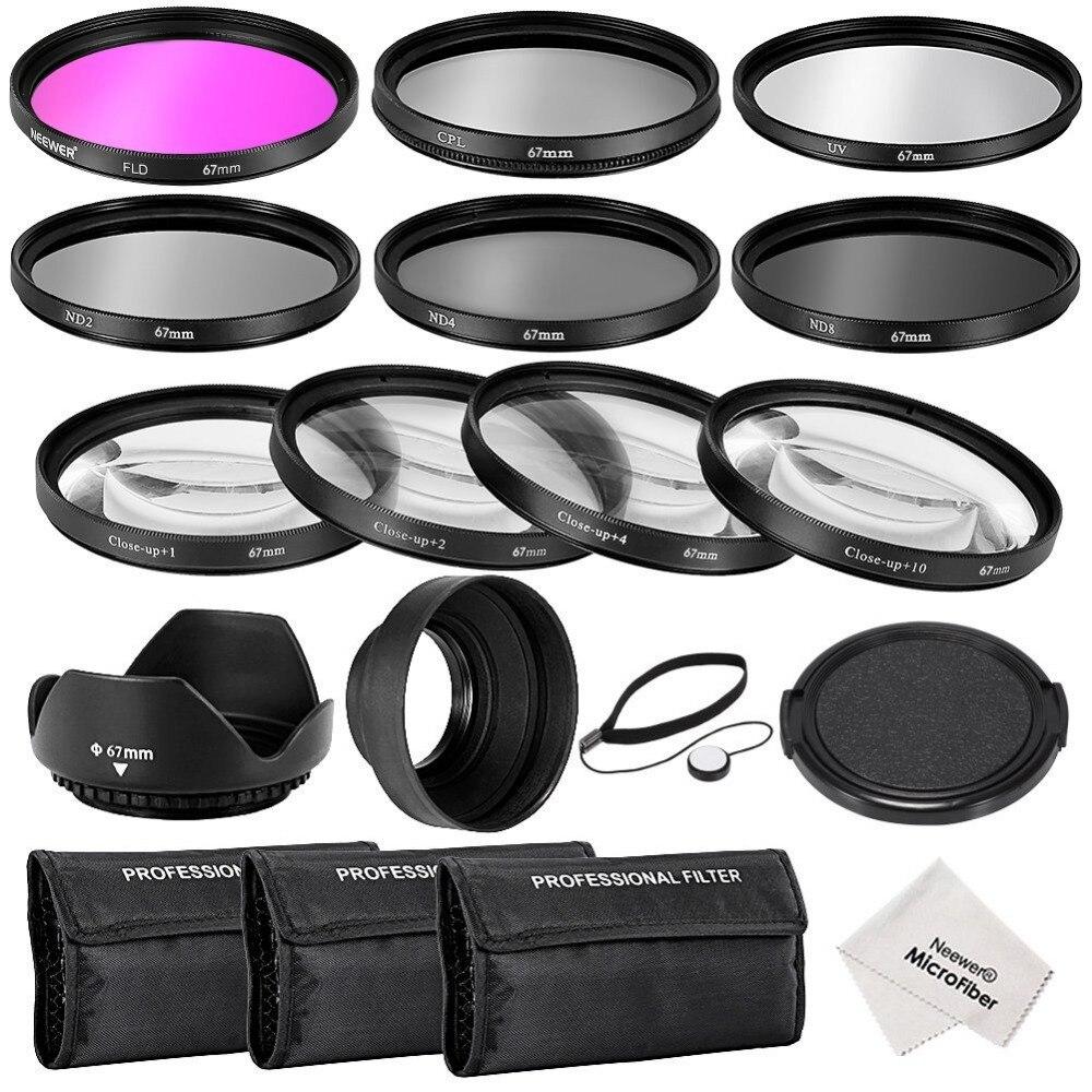 Neewer 67 MM Completa Lens Filter Kit di Accessori: UV, CPL, Filtri FLD + Macro Close-up filtri + ND2, ND4, ND8 Filtri a Densità Neutra
