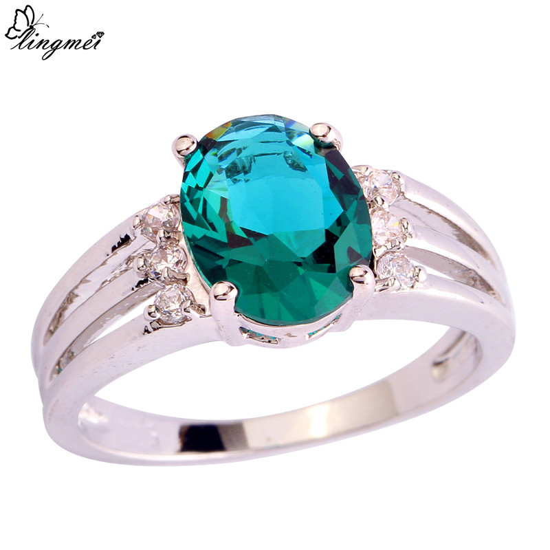 lingmei Wholesale Estate Green & White CZ Silver Color Ring Size 6 7 8 9 10 New Facile Design Noble European Women Jewelry