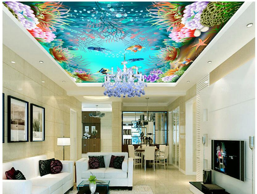 3d wallpaper custom photo non-woven home decoration sea world aquarium Ceiling mural painting 3d wall room murals wallpaper mural wallpaper 3d home decoration cherry trees 3d wallpaper living room ceiling non woven wallpaper ceiling