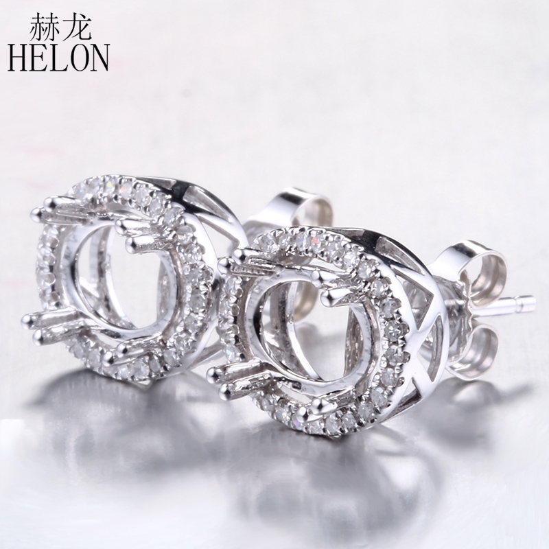 HELON Diamonds Elegant Semi Mount Stud Earrings 5x7mm-6.75x8.75mm Oval Cut Solid 14K White Gold Stylish Jewelry New Lady Jewelry варочная панель whirlpool gma 7522 ix
