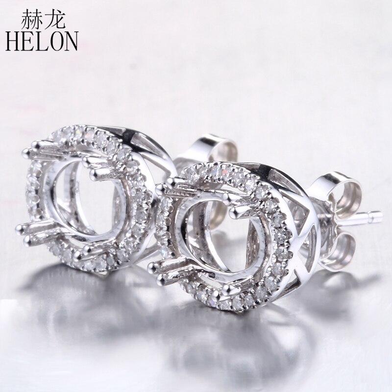 HELON diamants élégant Semi monture boucles d'oreilles 5x7mm-6.75x8.75mm ovale taille solide 14 K or blanc élégant bijoux nouvelle dame bijoux