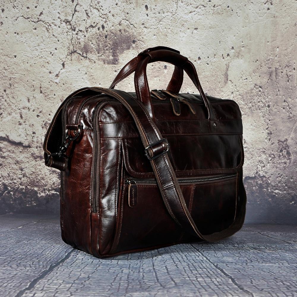 Maletín de negocios de diseño antiguo de cuero encerado de aceite para hombres maletín de documentos de ordenador portátil maletín de mensajero de moda 7146 - 5