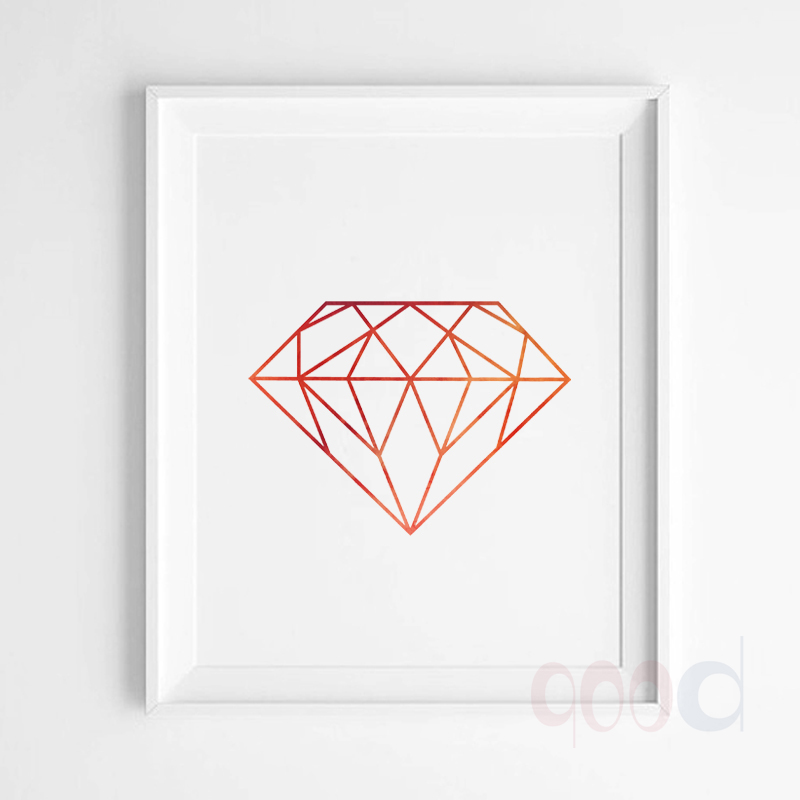 Watercolor Diamond Canvas Art Print Poster, Wall Pictures for Home ...