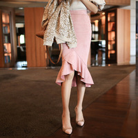Women Solid Bodycon Pink Skirt Midi Korean Style Knee Length Trumpet Solid Suede Skirt