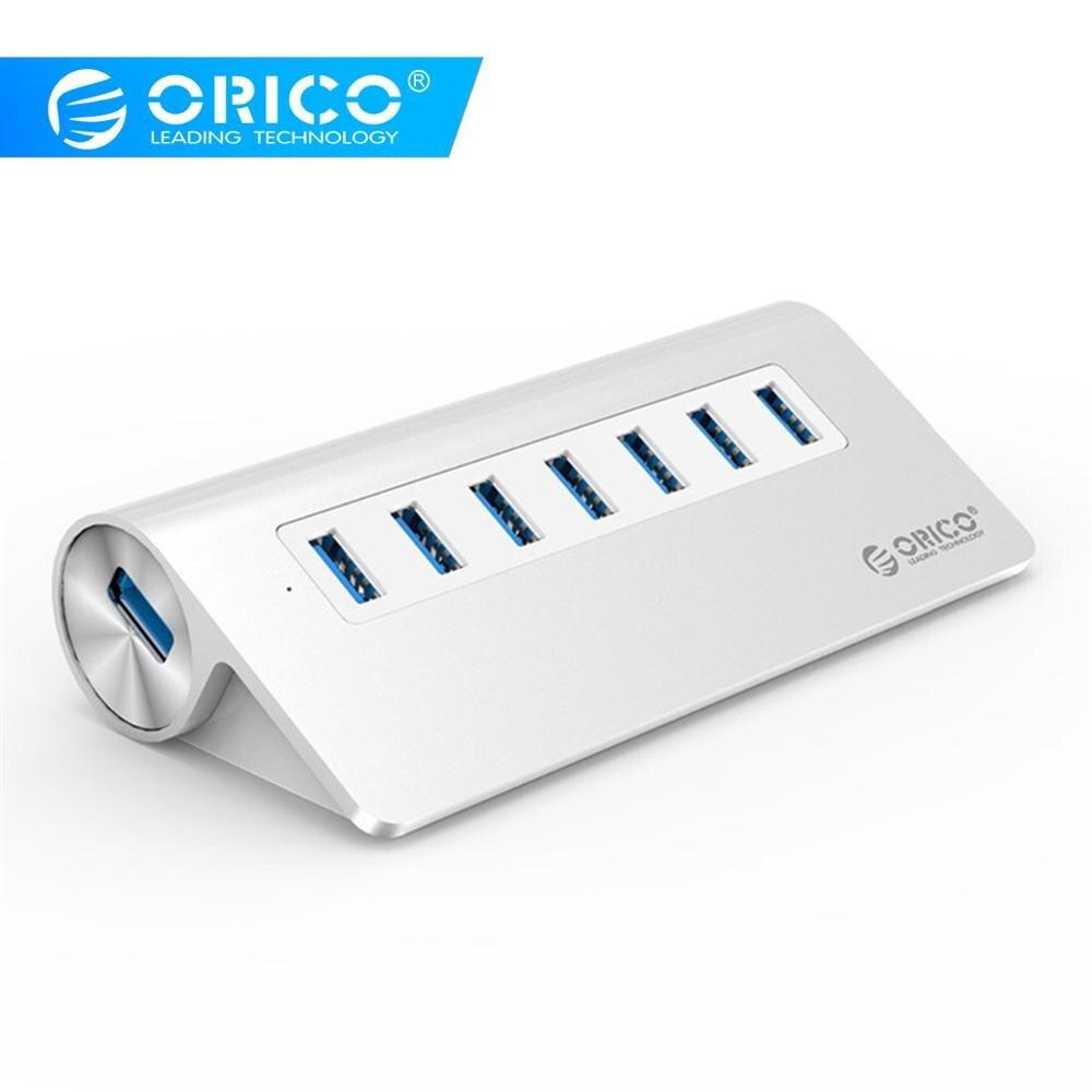 ORICO USB3 0 Hub Aluminum 7 Port Super Speed Hub with 12V Power Adapter 3 3Ft