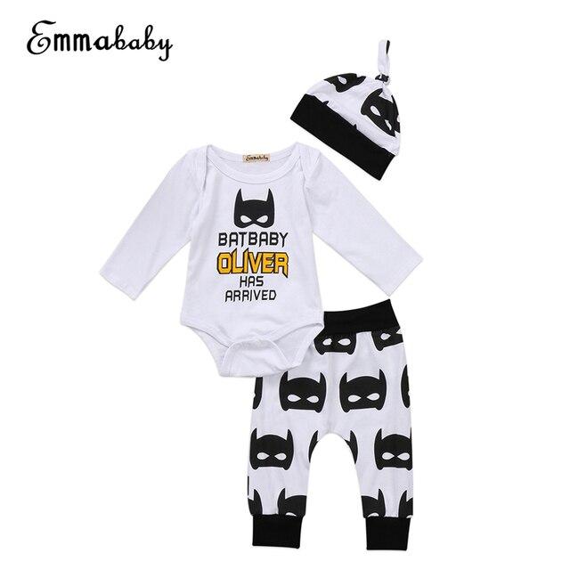 de62590440c44 US $6.15 14% OFF|Hot selling baby boy girl clothes set autumn 2017 new  batman print romper+pants+hat 3pcs newborn baby girl bebes clothing set-in  ...