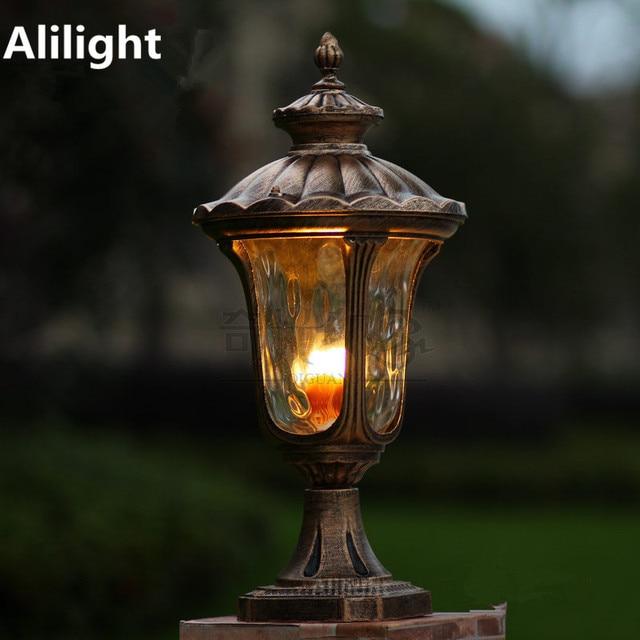 Aluminum Gl Post Lamp Home Fixture Pillar Light E27 European Vintage Outdoor Lighting Landscape