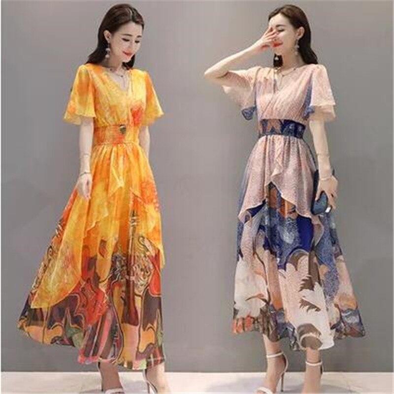 NEW vintage dress summer clothes High quality Plus size Women Chiffon long Dress Slim Lotus sleeve Elegant print dresses 1520 4