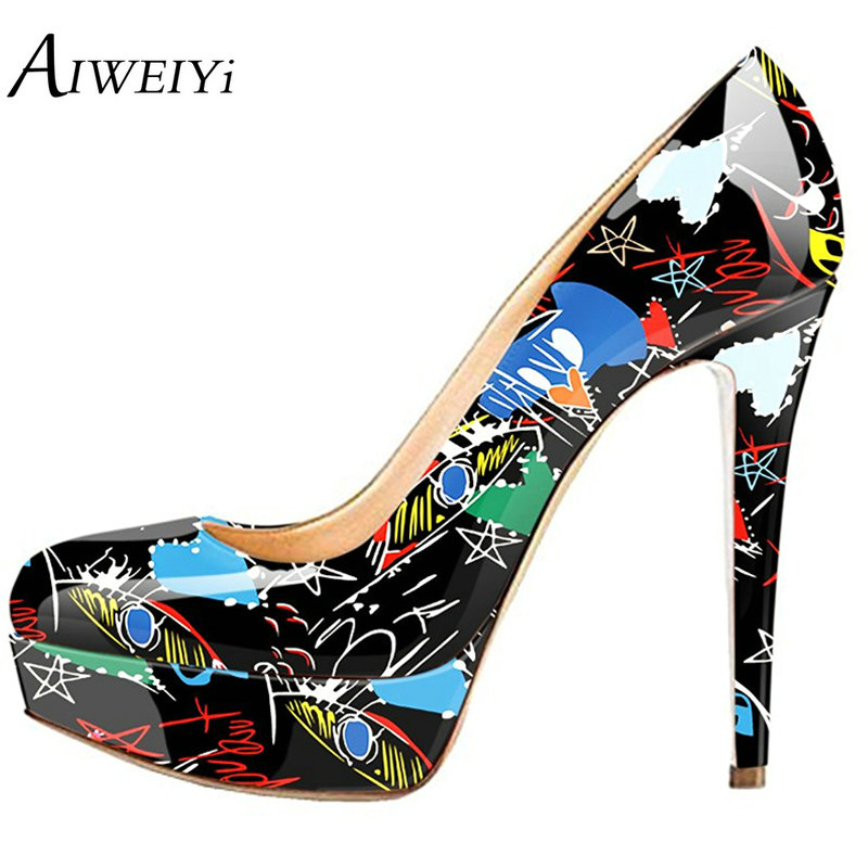 AIWEIYi 16cm Women's Extremely High Heels Pumps Platform Shoes Large Sizes Stiletto Heels Print Slip On Ladies Party dress Shoes aiweiyi super high heels platform pumps ankle buckle strap 16cm stiletto high heels ladies wedding party dress shoes for women