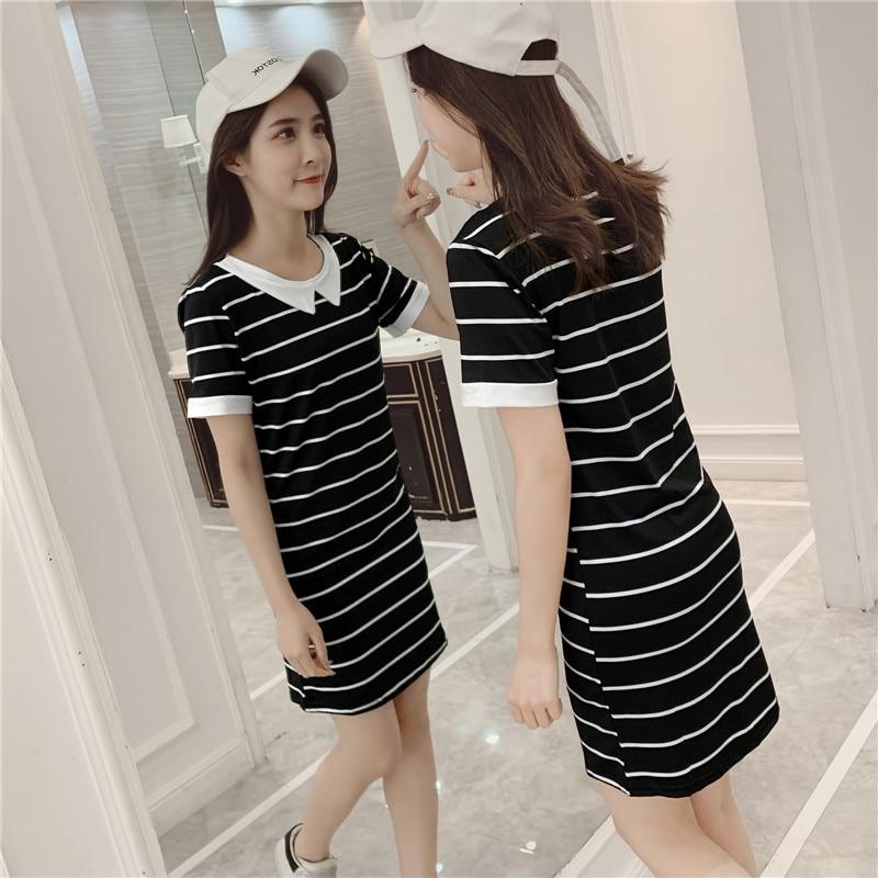 2019 Women Summer Dress Striped Black White Plus Size Peter Pan Collar Dress Student Sweet Korean Casual Harajuku T- Shirt Dress