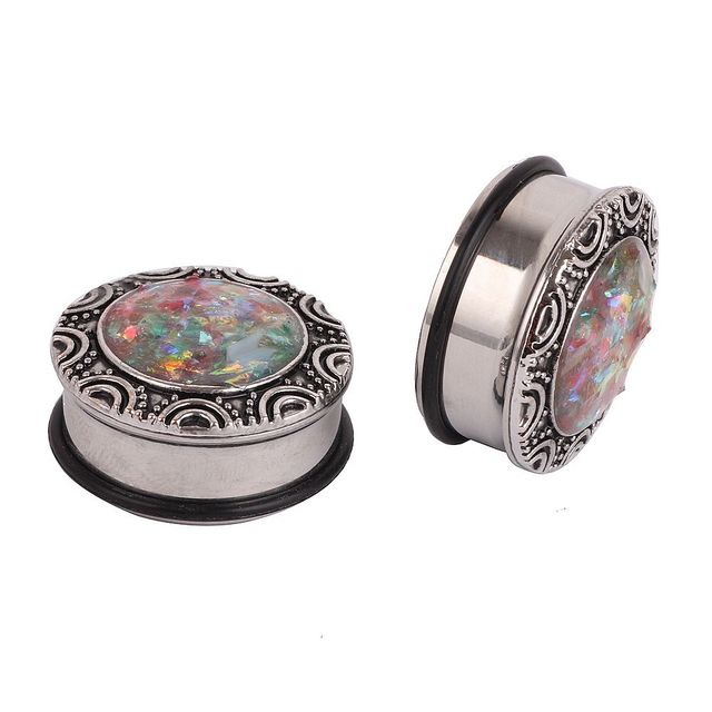 1 Pair Steel Ear Plugs with Imitation Opal Stone