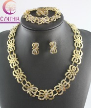 Fashion Necklace Bracelet Earrings Ring Set African Costume Bridal Wedding Party Rhinestone Gold Plated Dubai Jewelry