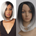 Short Ombre Grey synthetic Wig For Women natural hair Short Kinky straight Bob cut wig Sassy Gray Hair Pixie Cut Jenner Full wig